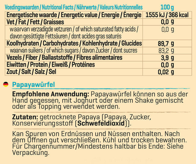 Papayawürfel Nutritional Information 1