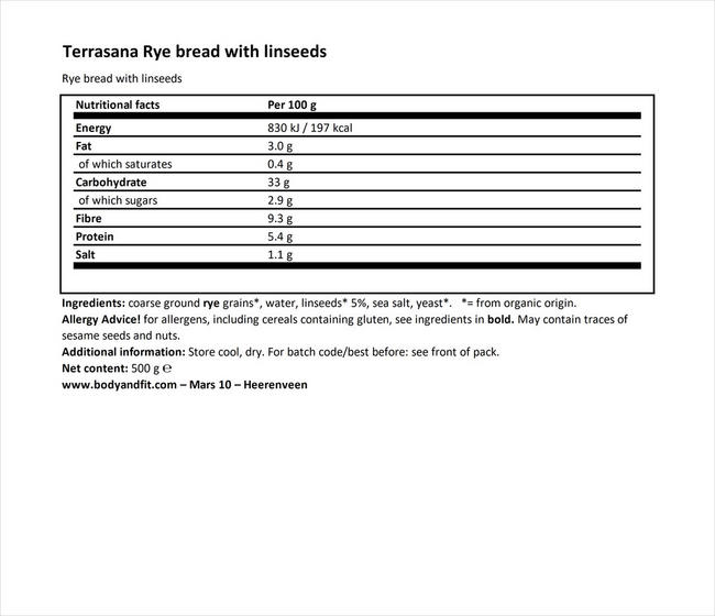 Rye Bread with Linseed Nutritional Information 1