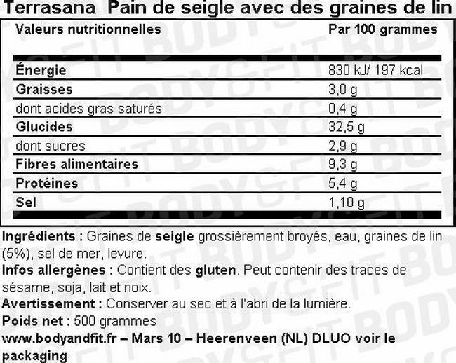Pain de seigle avec des graines de lin Nutritional Information 1