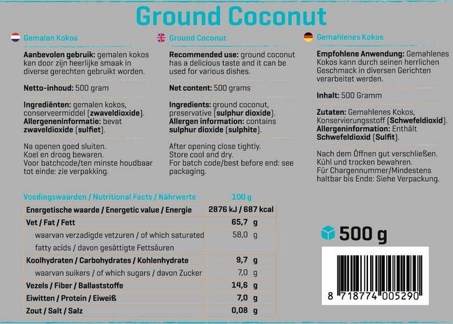 Pure Kokos gemahlen Nutritional Information 1