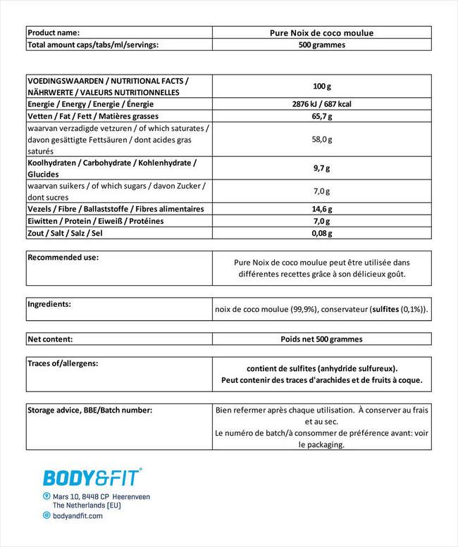 Pure Noix de coco moulue Nutritional Information 1