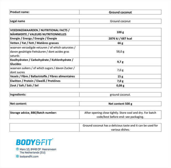 퓨어 코코넛 분말 Nutritional Information 1