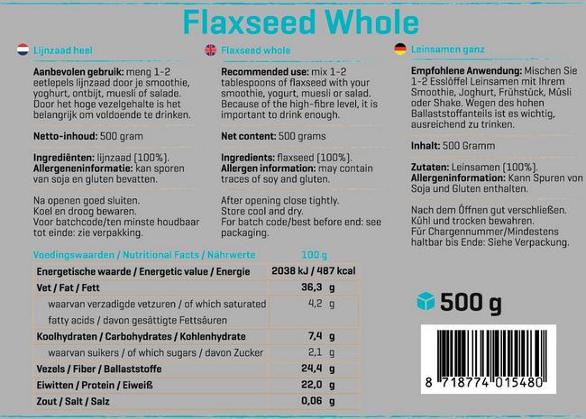 Pure Leinsamen Nutritional Information 1