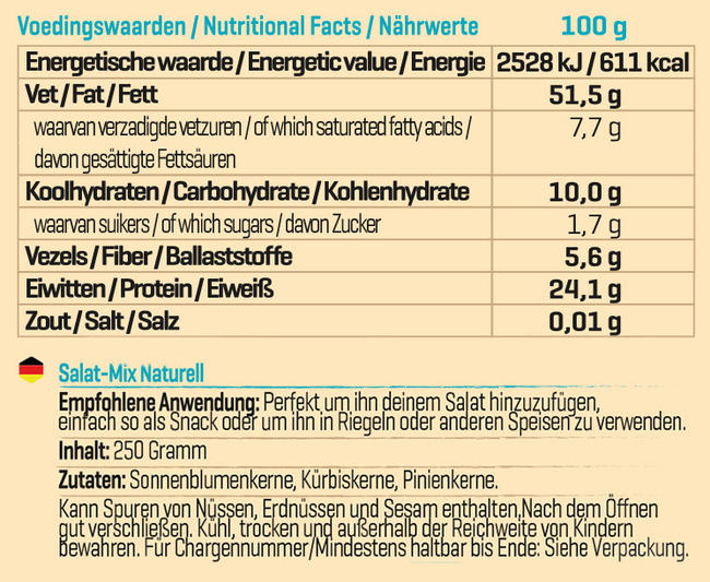 Pure Salatmix naturell Nutritional Information 1