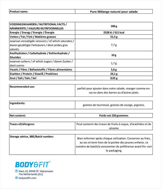 Pure Mélange naturel pour salade Nutritional Information 1