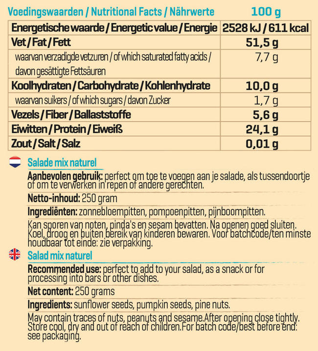 Pure Salade Mix Naturel Nutritional Information 1