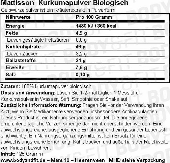 Biologisches Kurkumapulver Nutritional Information 1