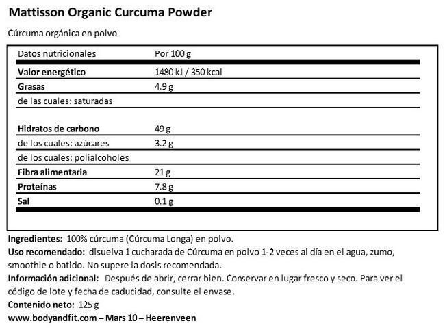Organic Turmeric Powder Nutritional Information 1
