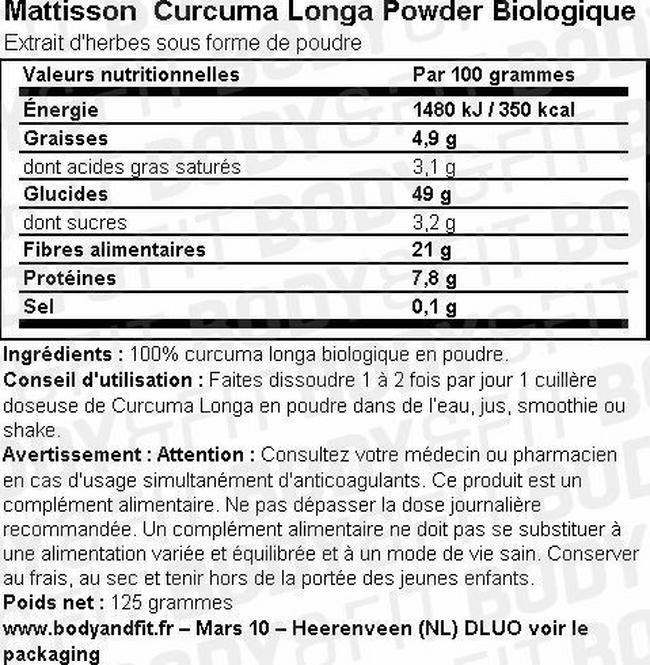 Curcuma Longa Powder Biologique Nutritional Information 1