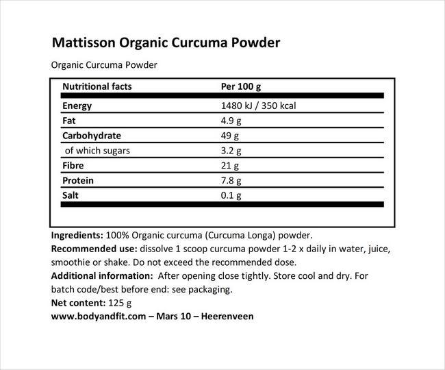 オーガニックターメリックパウダー Nutritional Information 1