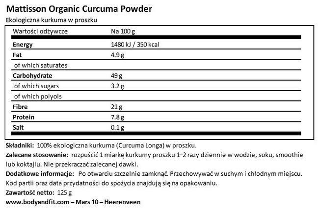 Ekologiczna kurkuma w proszku Nutritional Information 1