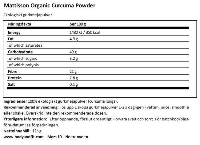 Ekologiskt gurkmejapulver Nutritional Information 1