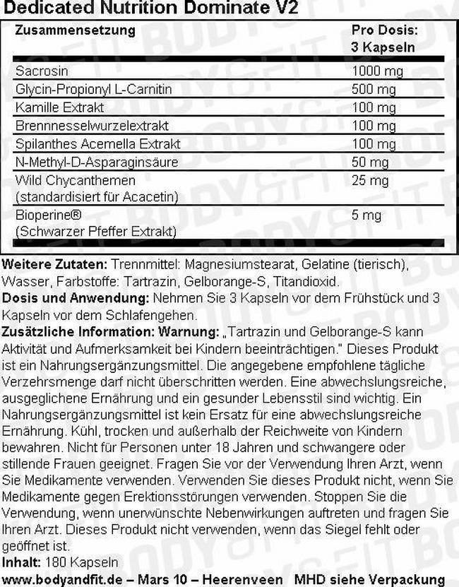 Dominate V.2 Nutritional Information 1