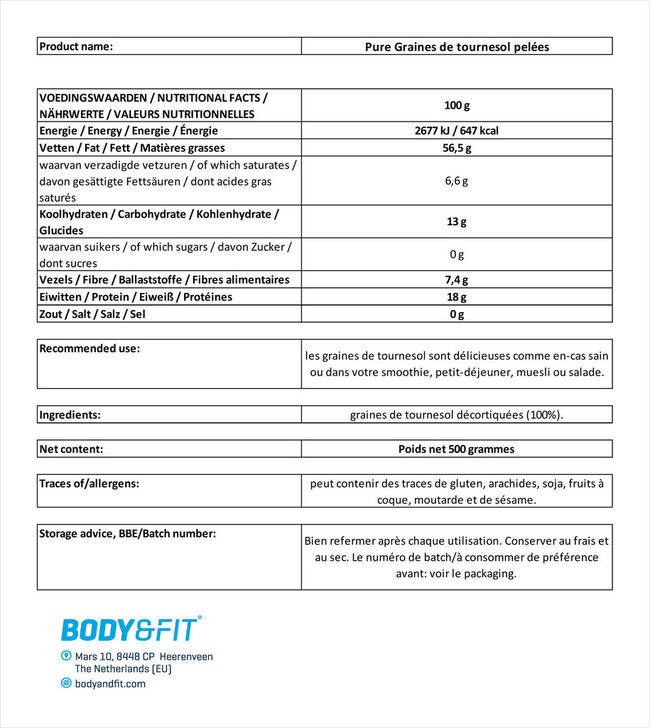 Pure Graines de tournesol pelées Nutritional Information 1