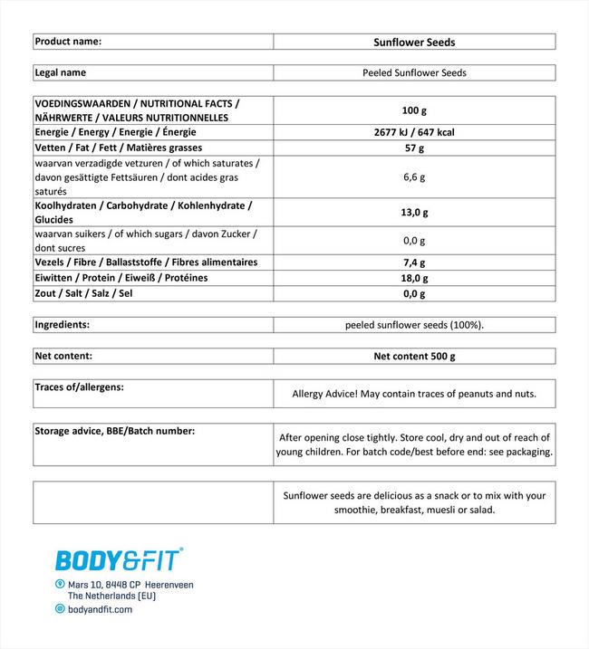 퓨어 해바라기씨 알맹이 Nutritional Information 1