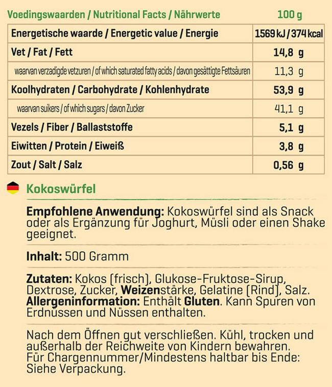 Kokoswürfel Nutritional Information 1
