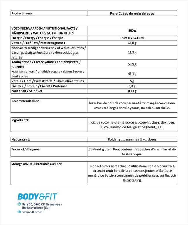 Pure Cubes de noix de coco Nutritional Information 1