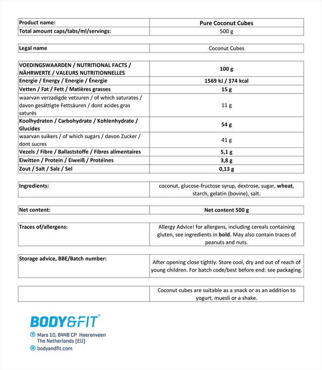 ピュアココナッツキューブ Nutritional Information 1
