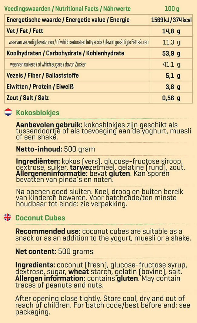 Pure Kokos blokjes Nutritional Information 1