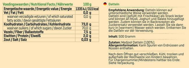 Pure Datteln Nutritional Information 1