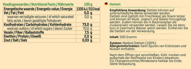 Pure Datteln Nutritional Information 1