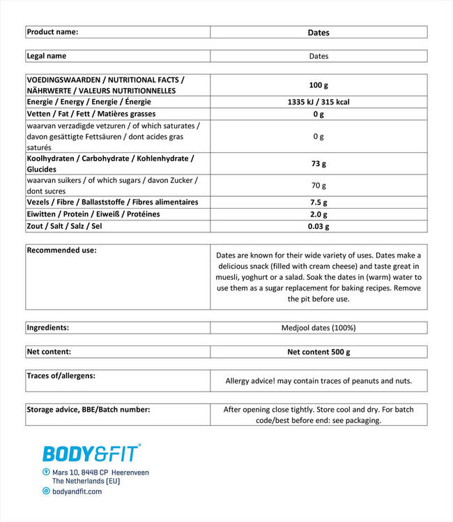 Pure Dates Nutritional Information 1