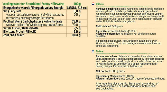 Pure Dadels Nutritional Information 1