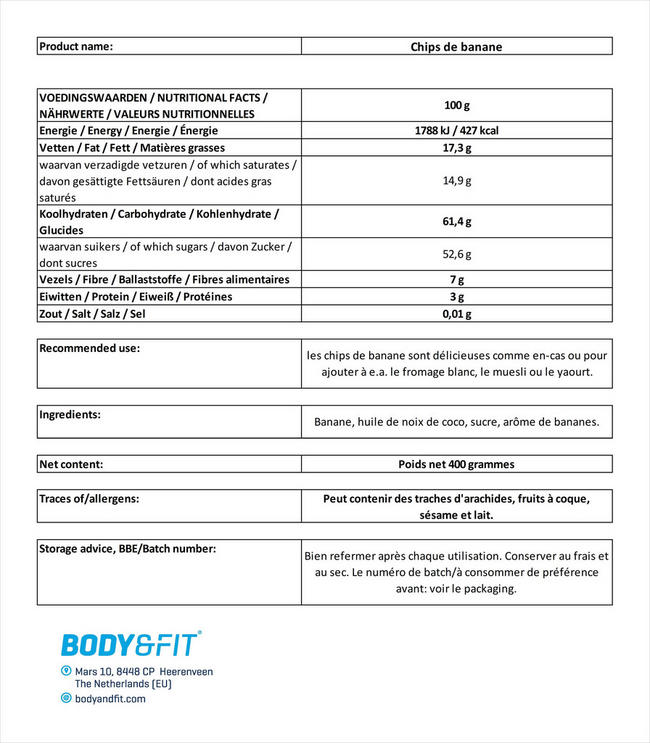 Chips de banane Nutritional Information 1