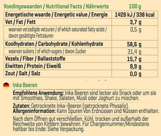 Pure Inka-Beeren Nutritional Information 1