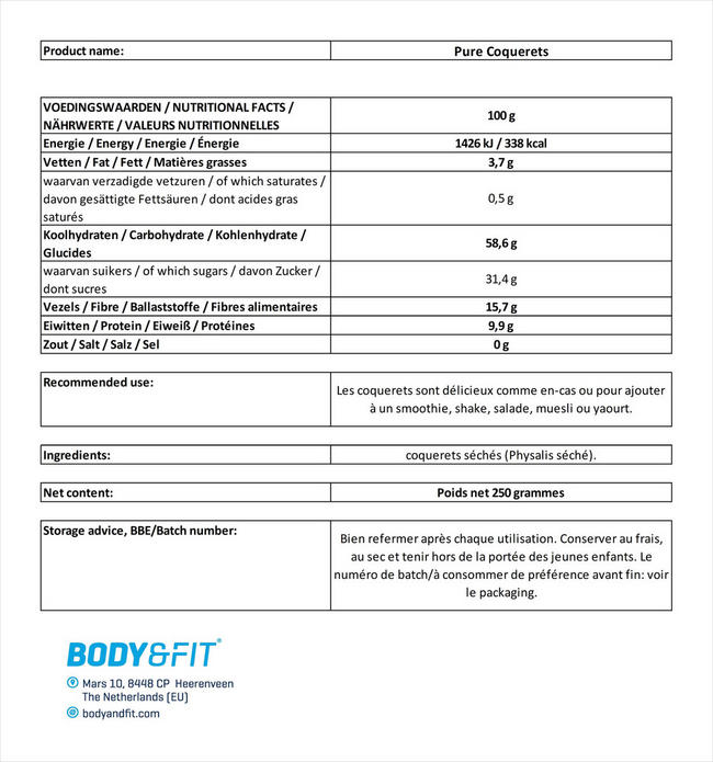 Pure Coquerets Nutritional Information 1