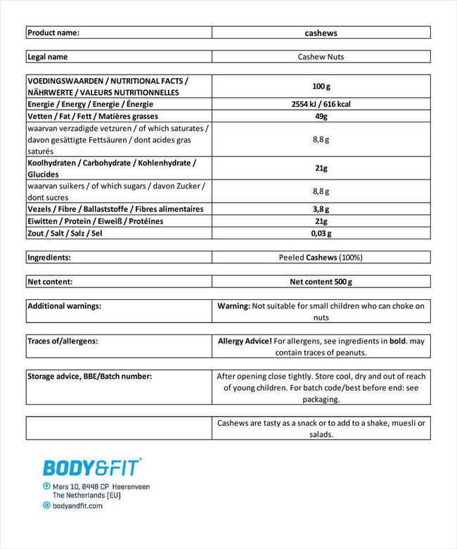 Pure Noix de cajou Nutritional Information 3