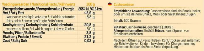 Pure Cashewnüsse Nutritional Information 1