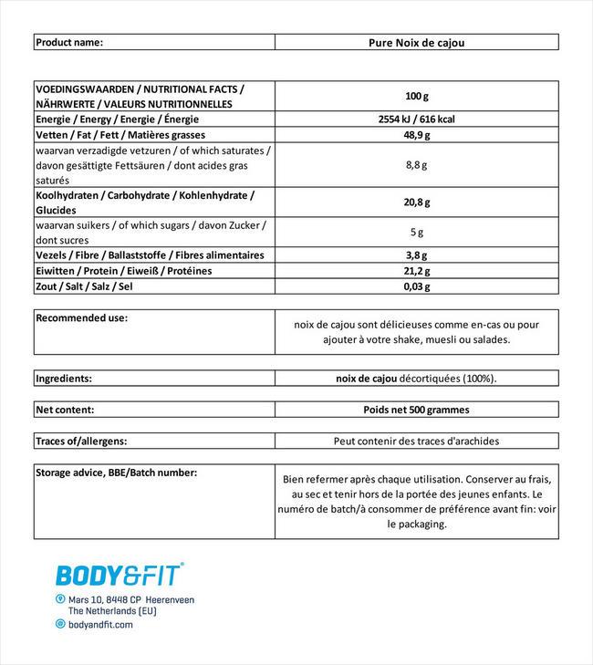 Noix de cajou pures Nutritional Information 1