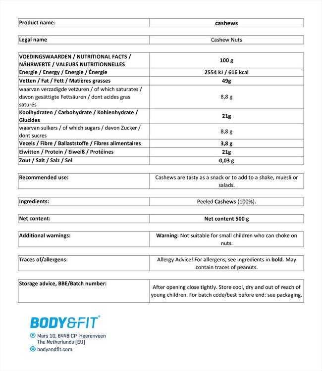 ピュアカシューナッツ Nutritional Information 1