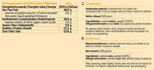 Pure Cashewnoten Nutritional Information 1