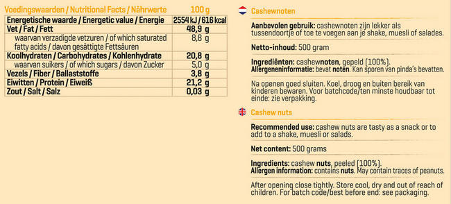 Pure Cashewnoten Nutritional Information 1