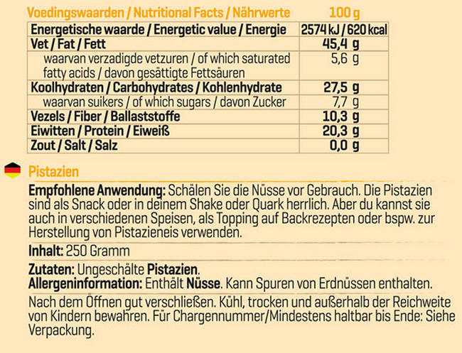 Pure Pistazien Nutritional Information 1