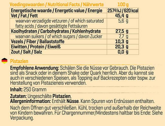 Pure Pistazien Nutritional Information 1
