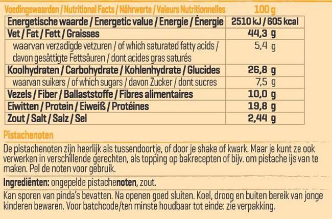 Pure Pistachenoten Nutritional Information 1