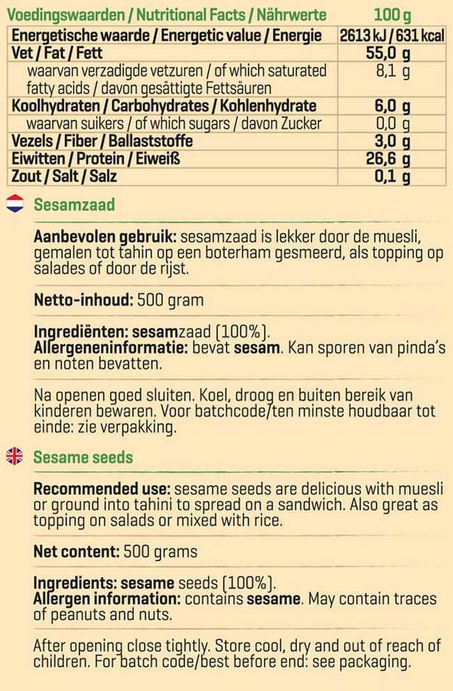 Pure Sesamzaad Nutritional Information 1