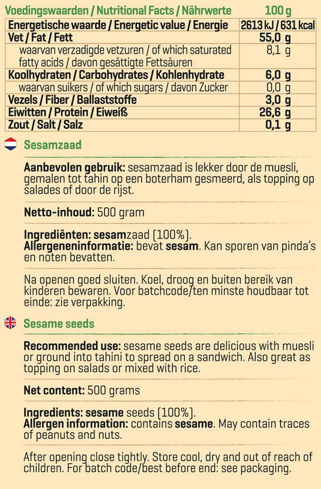 Pure Sesamzaad Nutritional Information 1