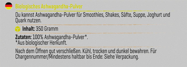 Pure Ashwagandha-Pulver Nutritional Information 1
