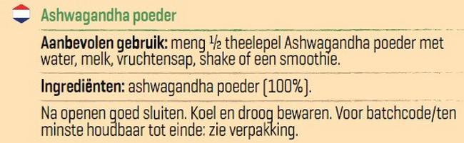 Pure Ashwagandha poeder Nutritional Information 1