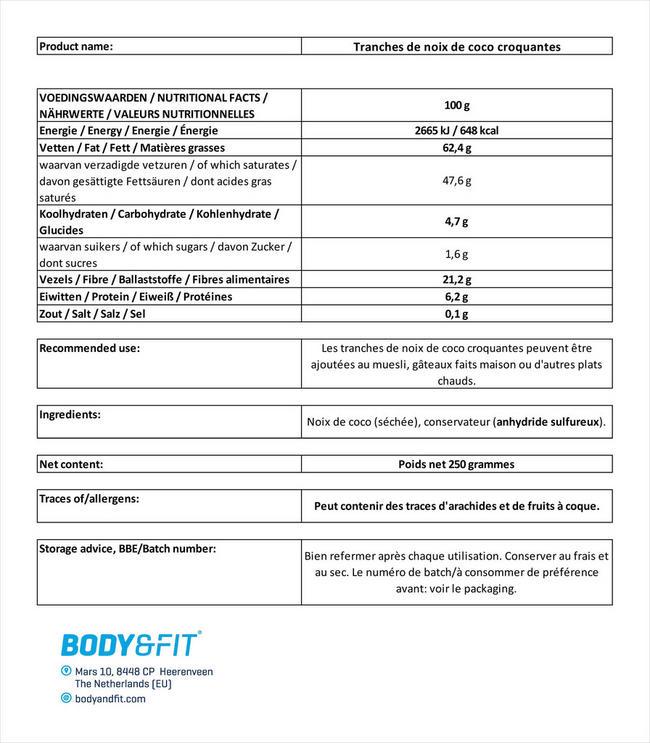 Tranches de noix de coco croquantes Nutritional Information 1