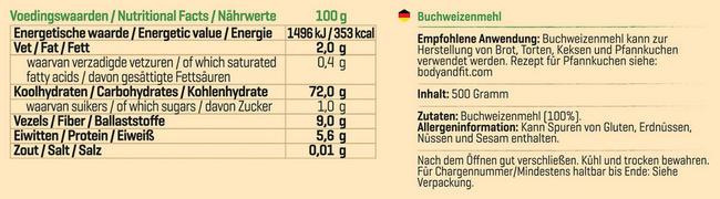 Pure Buchweizenmehl Nutritional Information 1