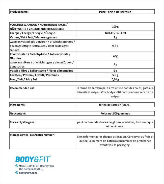Pure Farine de sarrasin Nutritional Information 1
