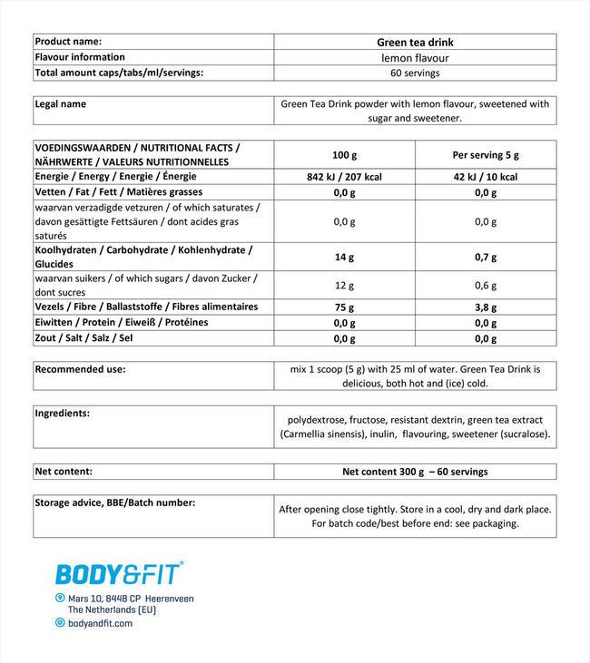 グリーンティードリンク Nutritional Information 1