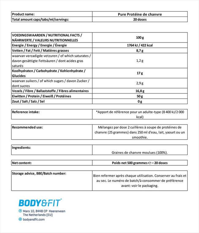 Pure Protéine de chanvre Nutritional Information 1