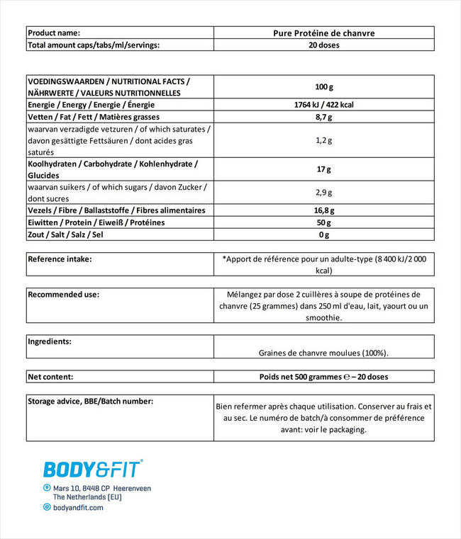 Protéines de chanvre Pure Hemp Protein Nutritional Information 1