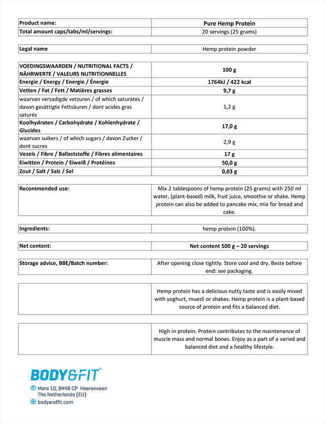 ピュアヘンププロテイン Nutritional Information 1
